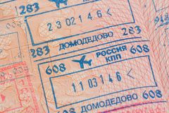 Passport page with the immigration control stamps of the Domodedovo airport in Moscow, Russia. Stock Image