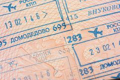 Passport page with the immigration control stamps of the Domodedovo and Vnukovo international airports in Moscow, Russia. Stock Images