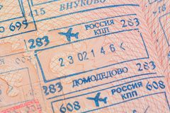 Passport page with the immigration control stamps of the Domodedovo and Vnukovo international airports in Moscow, Russia. Royalty Free Stock Photo
