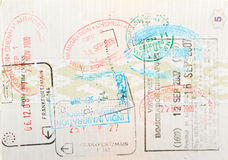 Passport page with immigration stamps stock photos