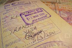 Passport page with transit Kenyan visa and immigration control stamp. Royalty Free Stock Images