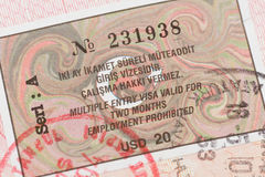 Passport page with Turkey visa and immigration control stamp. Stock Photos