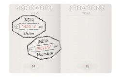 Passport pages. With stamp of Delhi and Mumbai, India. Vector 3d illustration Stock Photography