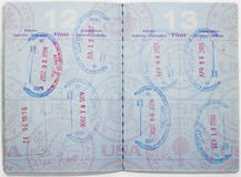 Passport Pages. USA passport pages with stamps Royalty Free Stock Images