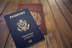 Passport. Travel exoticism french culture backgrounds document usa Royalty Free Stock Images