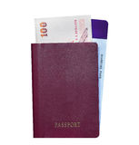 Passport with plane ticket and money Royalty Free Stock Photo