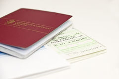 Passport and plane tickets. Isolated Royalty Free Stock Image