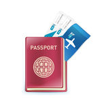 Passport with plane tickets inside isolated on white Stock Image