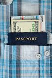 Passport in a pocket of shirt Royalty Free Stock Images