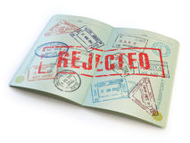 Passport with rejected visa stamp  on white. Stock Photo