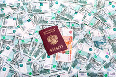 Passport of the Russian Federation and banknotes Royalty Free Stock Image