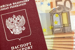 Passport of the Russian Federation and money. Royalty Free Stock Photo