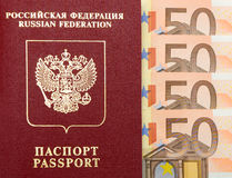Passport of the Russian Federation and money. Stock Image