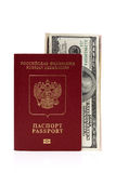 Passport of Russian Federation and US dollars Royalty Free Stock Images