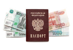 Passport and russian money. Isolated on white Stock Photography