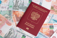 Passport with Russian money rubles Stock Image