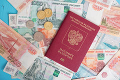 Passport with Russian money rubles Royalty Free Stock Images