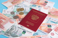 Passport with Russian money rubles Stock Photo