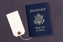 Passport for sale? 2. A USA passport with a sales tag on it... but how much Stock Images