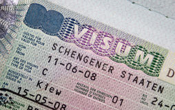 Passport with Schengen visa Stock Images