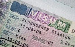 Passport with Schengen visa Stock Images