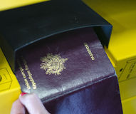 Passport self check-in stock photo