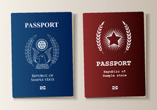 Passport set. In two colors with sample elements Royalty Free Stock Images