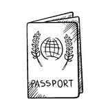 Passport sketch with globe on cover Royalty Free Stock Image