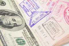 Passport with stamp stock photos
