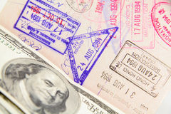 Passport with stamp Stock Image