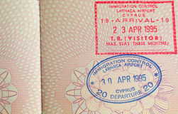 Passport stamp. Immigration stamp in passport for Cyprus Royalty Free Stock Image
