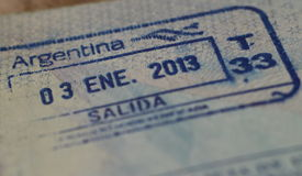 Passport stamp for Argentina Stock Images