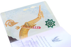 Passport stamp cancelled. Close up passport stamp cancelled Royalty Free Stock Image