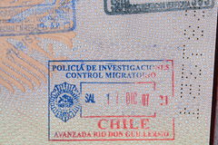 Passport stamp of Chile Stock Image