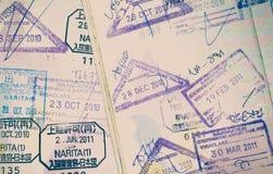 Passport stamp. Close - up passport stamp in vintage style Stock Image