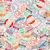 Passport stamp seamless pattern. International arrivals sign rubber, visa airport stamps and watermarks Stock Images