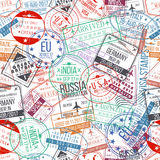 Passport stamp seamless pattern. International arrivals sign rubber, visa stamps Stock Photos