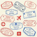 Passport stamp set Stock Image