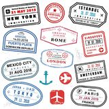 Passport stamp set vector illustration
