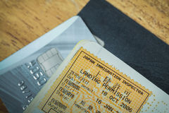 Passport stamp visa of Japan and credit card for travel Stock Image