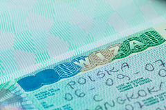 Passport stamp visa of Poland for travel concept Stock Photography
