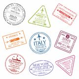 Passport stamp or visa signs for entry  to the different countries Europe.  International Airport  symbols. Vector Royalty Free Stock Photos