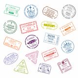 Passport stamp or visa signs for entry  to the different countries.  International Airport  symbols. Vector Royalty Free Stock Photos