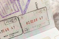 Passport stamp visa for travel concept background, Paris France Royalty Free Stock Image