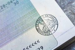 Passport stamp visa for travel concept background, Paris France Stock Photo