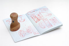 Passport stamps. It is a chinese passport for enter HongKong, with a stamp. Isolated Royalty Free Stock Photography