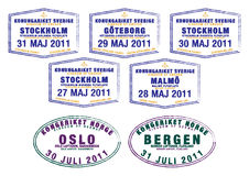 Passport stamps. From Sweden and Norway in format vector illustration