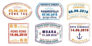 Passport stamps. Asian passport stamps in format stock illustration