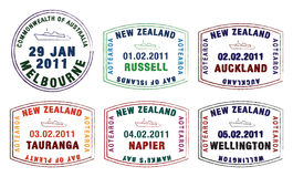 Passport stamps. Vector stylised passport stamps from Australia and New Zealand vector illustration