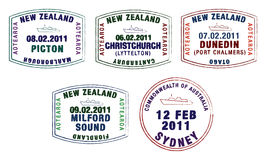 Passport stamps. Vector stylised passport stamps from Australia and New Zealand royalty free illustration